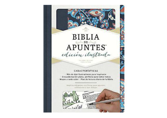 BIBLIA DE APUNTES EDICIÓN ILUSTRADA TELA ROSADA Y AZUL