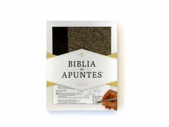 BIBLIA DE APUNTES GRIS FLORAL
