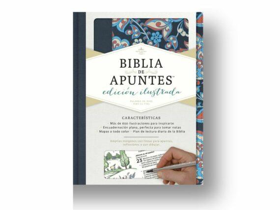RVR60 - BIBLIA DE APUNTES EDICION ILUSTRADA  - AZUL/FLOR